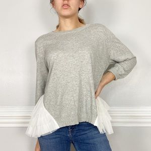 Anthro Lilly's Closet Tulle Grey Cotton Sweater